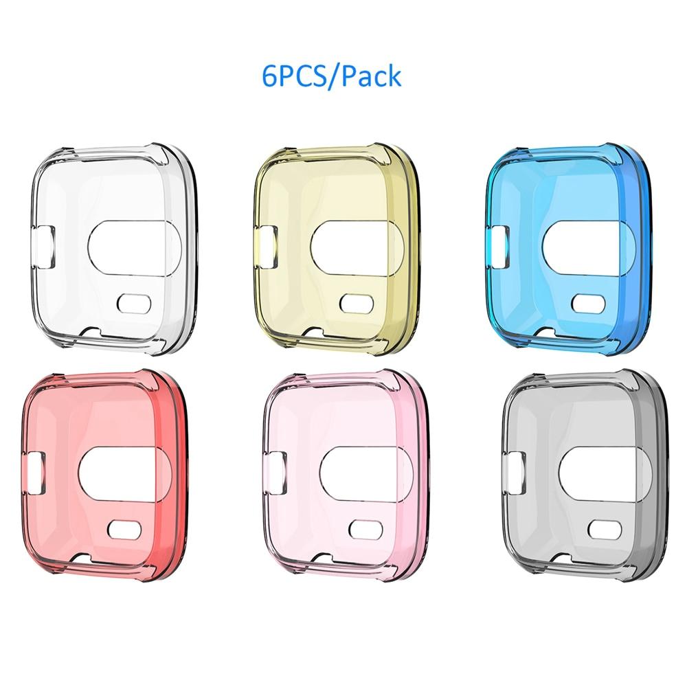6 unids/pack TPU cubierta de la caja para Fitbit viceversa Lite reloj inteligente funda protectora completa de la cáscara de la piel de anti-shock carcasa de Marco