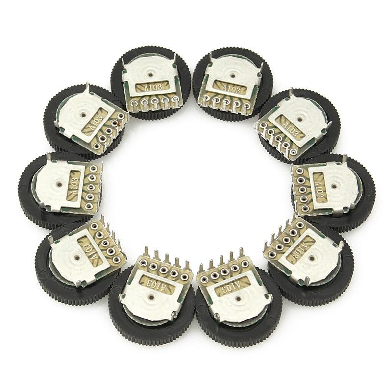 Новый 10 шт. A103 10K дуплексный зубчатый диск потенциометра 16х2 мм для радио MP3/MP4 Регулировка громкости переключатель потенциометра