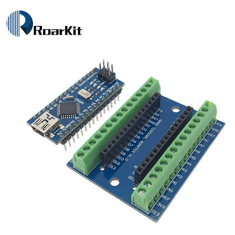 1pcs NANO V3.0 3.0 Controller Terminal Adapter Expansion Board NANO IO Shield Simple Extension Plate For Arduino AVR ATMEGA328P