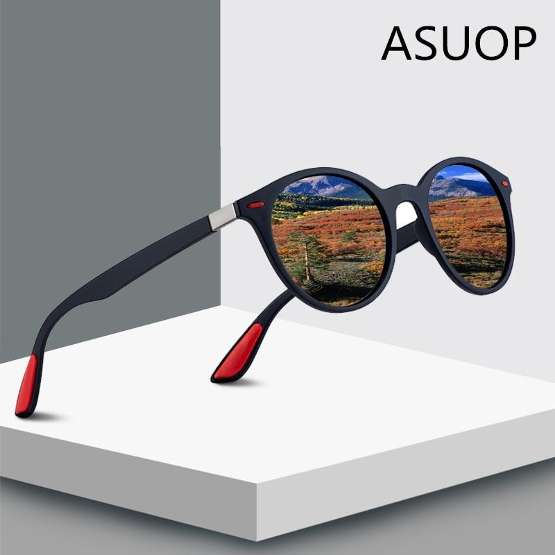 ASUOP 2019 New Fashion Round Polarized Women's Sunglasses Retro Brand Design Men's Glasses Large Frame UV400 Driving Sunglasses