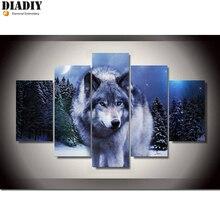 Kit de peinture bricolage diamant 5d   Kit de point de croix, strass ronds diamant, mosaïque broderie diamant, broderie loup 5 pièces