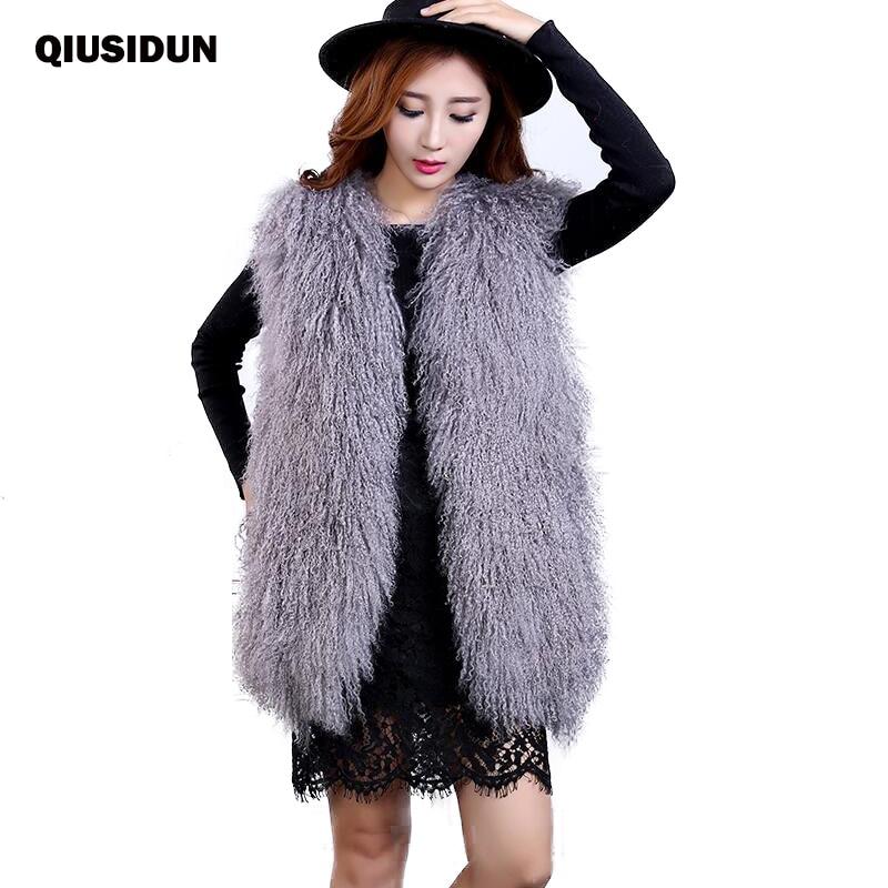 QIUSIDUN Women Genuine Sheepskin Vest Womens Lamb Fur Vest Real Pink Sleeveless Natural Large Size Sheep Winter Mongolian 2017