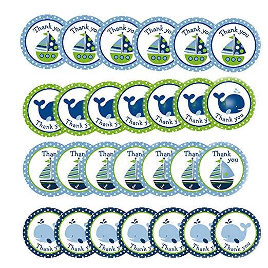 40 pçs baleia veleiro tema náutico círculo redondo adesivos vela obrigado você selo etiquetas para crianças presentes de aniversário favores