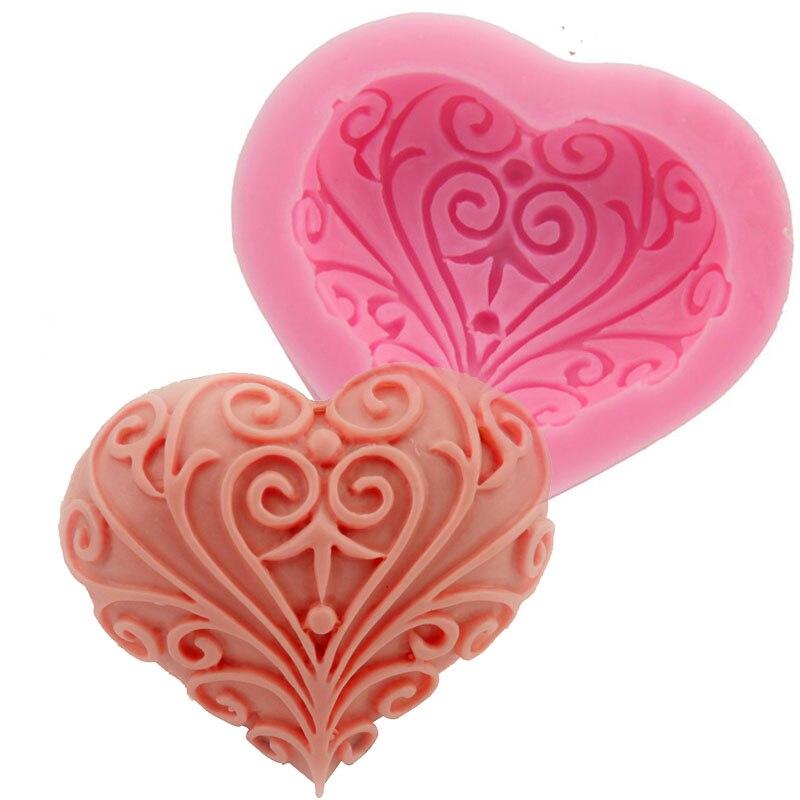 Силиконовая форма в форме сердца для свадьбы, инструменты для украшения торта, форма для изготовления мыла вручную F0733