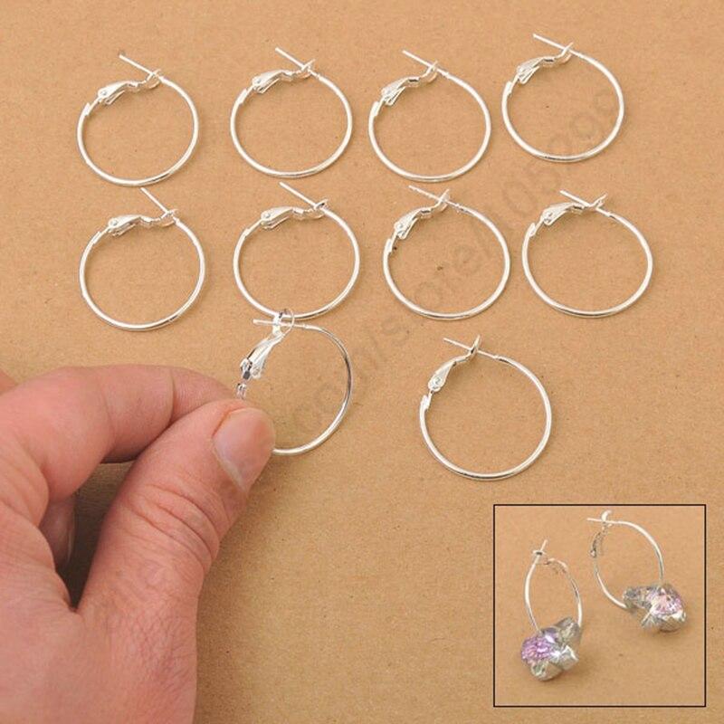 100 шт 925 стерлингового серебра круглые серьги Модные Diy ювелирные аксессуары 20 мм обруч ушные провода вешалка с отверстиями для рукоделия