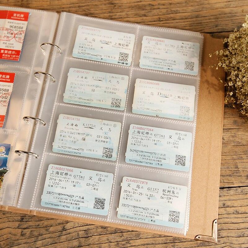 40 teile/los 305mm * 240mm sammeln die zug flugzeug reise ticket münze sammlung album Banknoten transparent fotoalbum