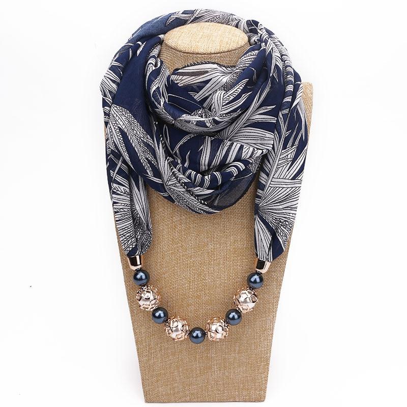2020 women necklace scarf statement pendant jewelry scarfs summer Boho print chiffon scarf foulard femme muslim head scarves