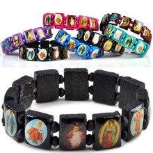 Saints jésus religieux bois catholique icône Bracelets unisexe mode bois Bracelet Paryer breloque bijoux 7 couleurs
