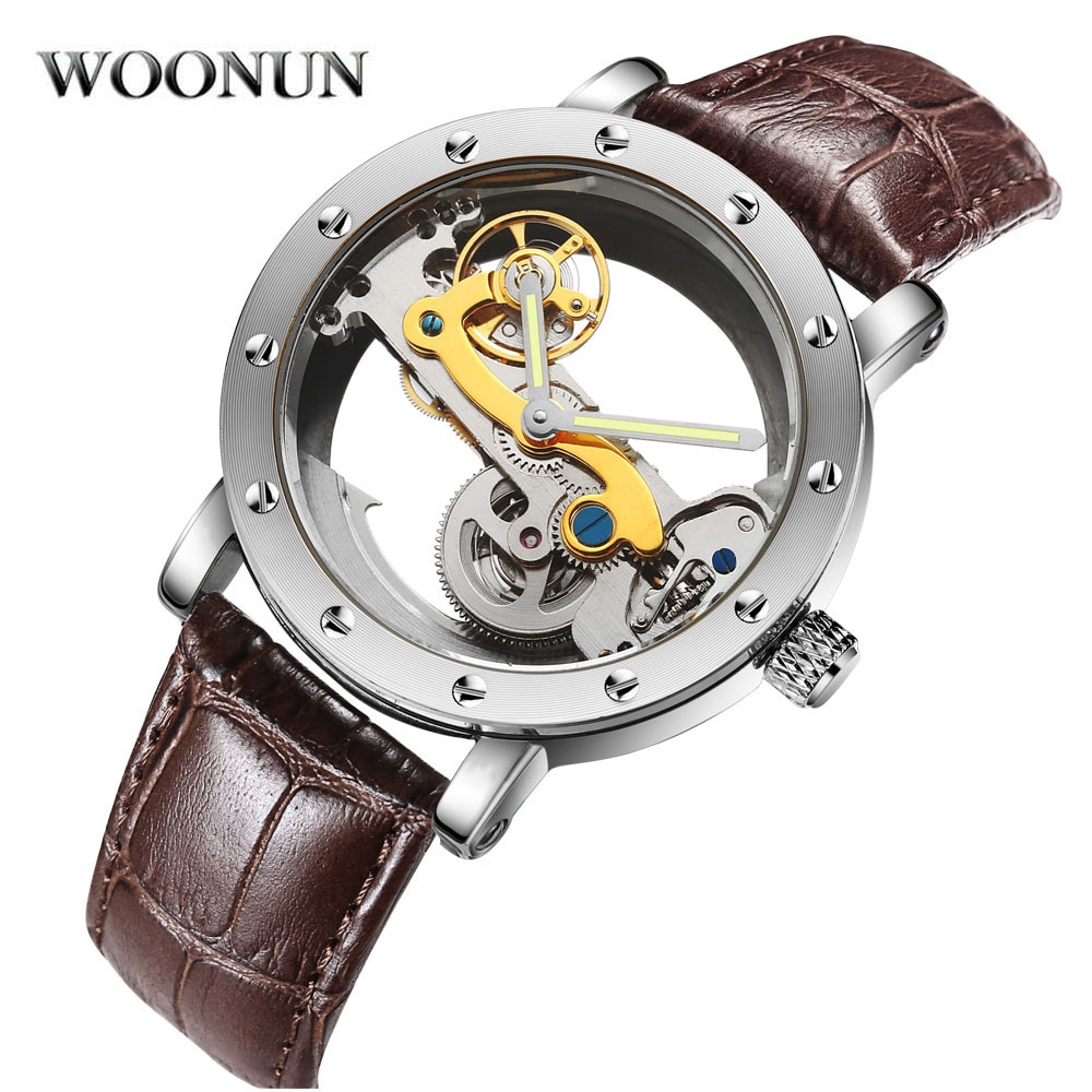 Luxury Brand WOONUN Leather Strap Transparent Dial Golden Case Mens Watches Automatic Mechanical Oro