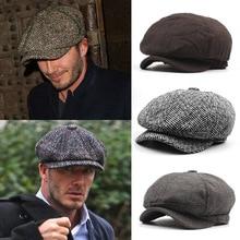 Casquette à visière plate pour homme   Automne et hiver 2018, chapeau octogonal décontracté de restauration, béet chapeau homme papa Newsboy