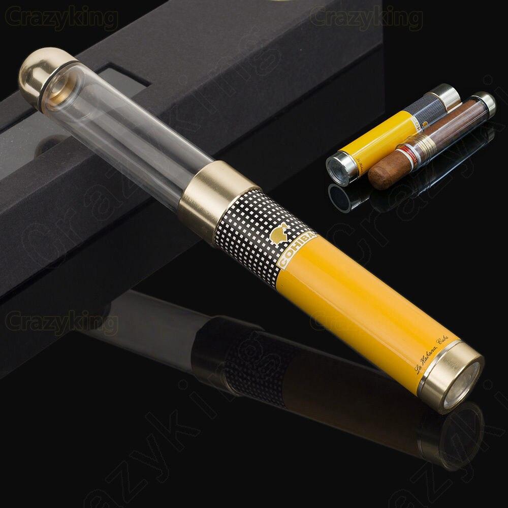 COHIBA soporte anticaza clásico Flexible viajes humidor del tubo del cigarro con punzón del humidificador