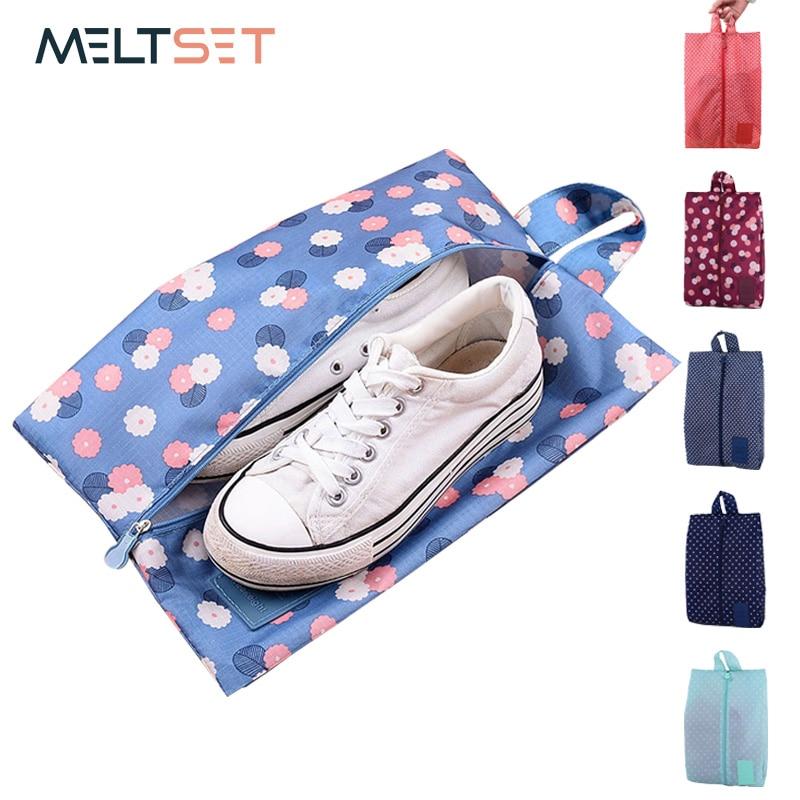 Portable Waterproof Travel Shoe Bag Nylon Storage Bag Pouch Convenient Storage Organizer Shoes Sorting Zipper Tote