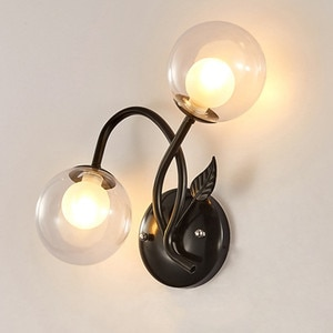 BEIAIDI American Country Globe Glass Wall Lamp Bathroom Mirror Beside Lamp Bedroom Bedside Wall Light Hotel Cafe Aisle Sconce