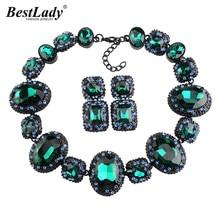 Meilleur dame 2016 plus récent bijoux de mariée cristal gemme strass géométrique luxe déclaration de luxe Maxi Collier ras du cou Collier 3495