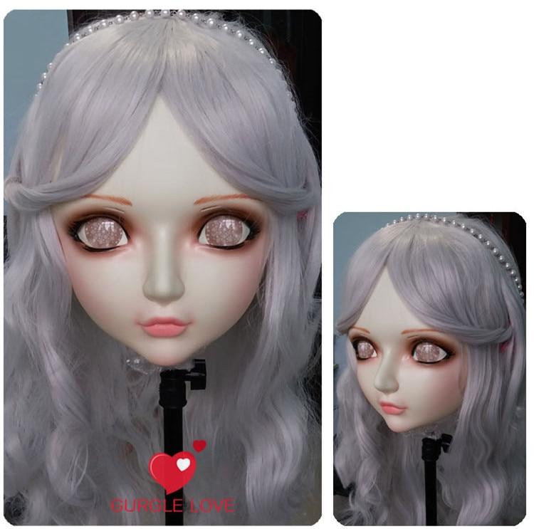 Feminino Doce Menina Resina Meia Cabeça Kigurumi Bjd Máscara Cosplay Anime Japonês Papel Lolita Realista Real Crossdress Boneca Dm004
