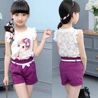 girls suits 2021 new summer children clothing lace sleeveless print vestshorts 2pcs set girls clothes 4 5 6 7 8 9 10 11 years