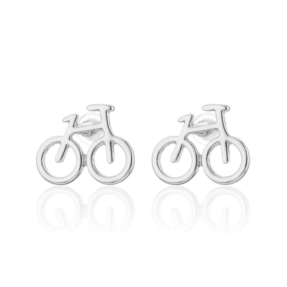Moda bicicleta parafuso prisioneiro pequenos brincos bonito metal para presentes femininos criativo oco rosa jóias de ouro brinco feminino 2019 novo