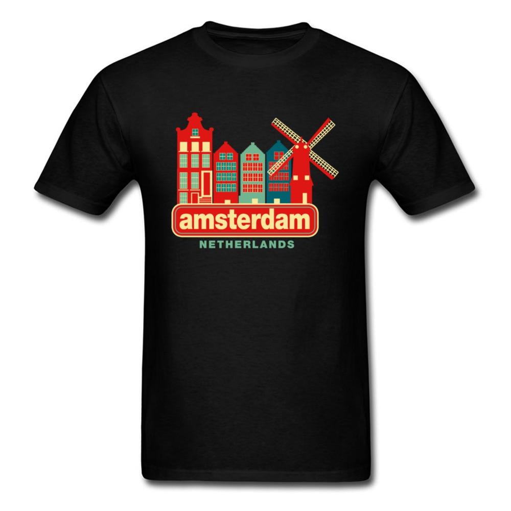 Camiseta Vintage con estampado de ciudad de Amsterdam para hombre, camiseta informal...