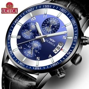Часы наручные OLMECA Мужские кварцевые, Модные Роскошные водонепроницаемые с хронографом, с глубиной до 30 м, черные
