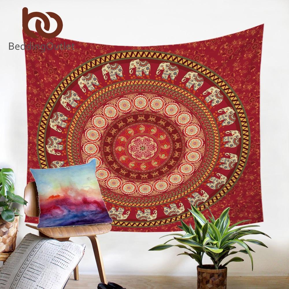 BeddingOutlet Red Mandala Tapestry Elephant Messenger Wall Hanging Carpet Bohemia Polyester Soft Boho Home Decor 2 Sizes