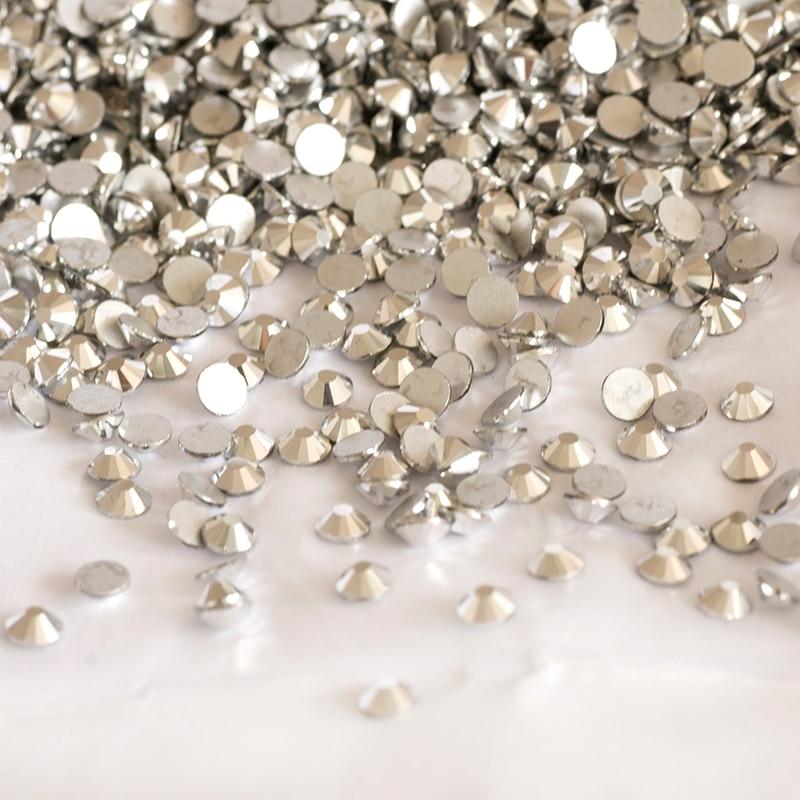 YANRUO 2058NOHF LTCH Labrador Glass Strass Crystals Stones Flat Back Beads Silver White Rhinestones