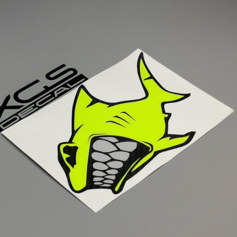 Pegatinas de diseño XGS para coche, pegatinas de neón fluorescentes de tiburón amarillo, pegatinas multicolor para motocicleta, pegatinas impermeables de calidad