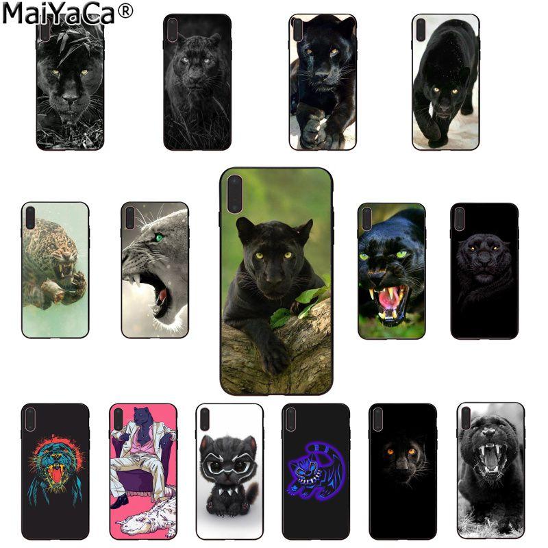 Funda de teléfono MaiYaCa de Animal pantera de goma suave negra para Apple iPhone 8 7 6 6S Plus X XS MAX 5 5S SE XR
