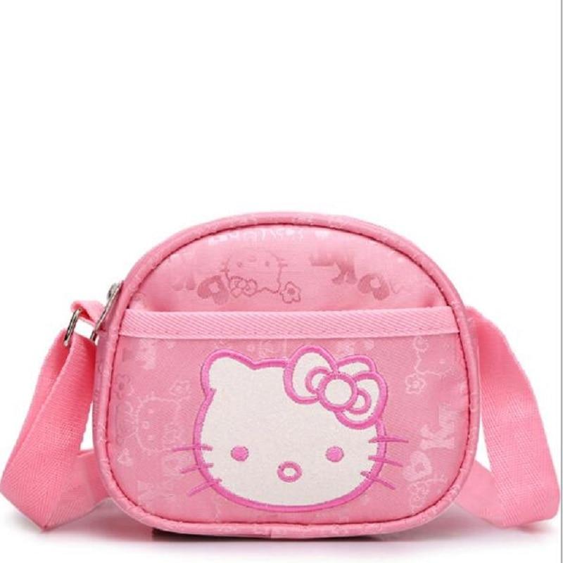 Pink Women Bags  Hello Kitty Fashion Women Shoulder Bags Children Cute High Quality Zipper Coin Bags Girl Bag Gift