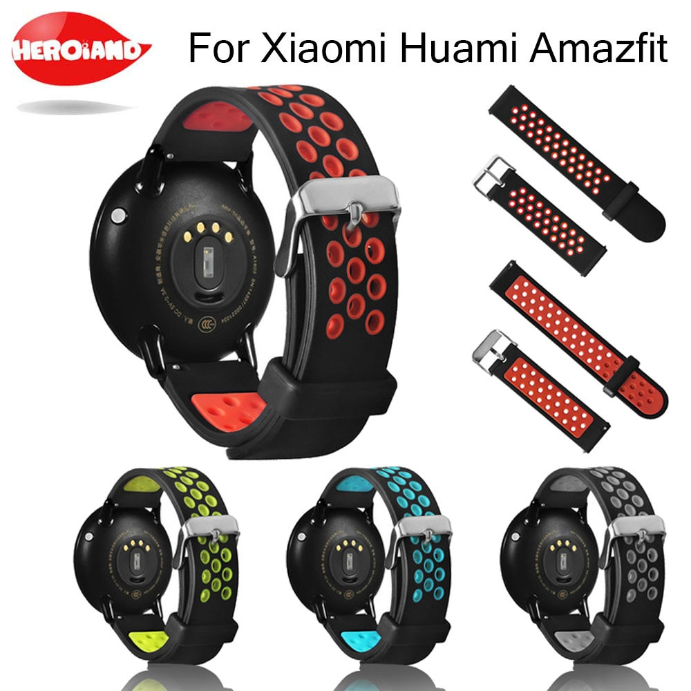 Silicone Dual Color Breathable Replacement Watchband Bracelet Wrist Band Strap for Xiaomi Huami Bip BIT Amazfit Bip Youth Watch sports silicone wrist strap bands for xiaomi huami amazfit bip bit pace lite youth smart watch replacement band