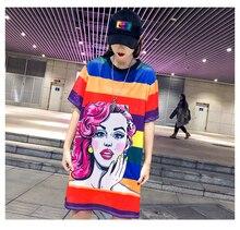 New Summer Women Dresses Funny Colour Striped Printed Short Sleeve T Shirts Women Tee Shirts Dresses Hip Hop Dance Clothes M-XXL