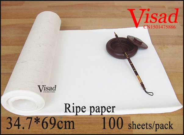 Papel de arroz chino goingbi, pintura de caligrafía, papel cocido para pintar, suministros de darwing, papel maduro xuan 34,7*69 cm