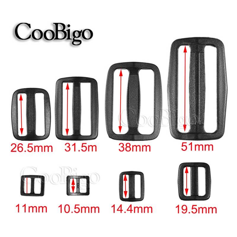 """3/8"""" 5/8"""" 3/4"""" 1"""" 1-1/4"""" 1-1/2"""" 2""""Webbing Plastic Black Curve Slider Tri-Glide Adjust Tri-ring Buckles Backpack Straps#FLC038"""