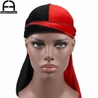 luxury mens velvet patchwork durags bandanas turban hat two tone velvet durag biker headwear hat headband hair accessories