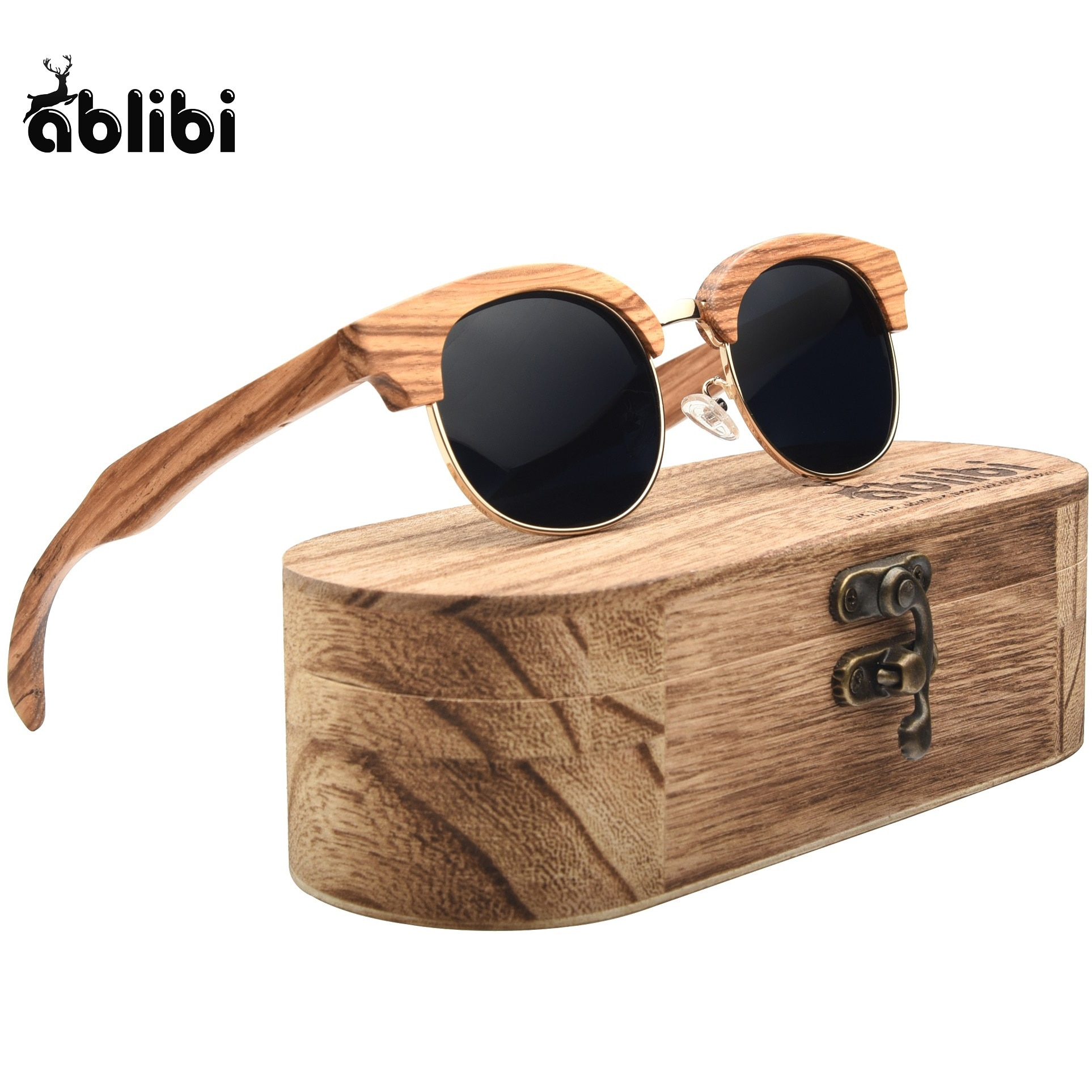 Gafas de sol de madera, gafas de sol polarizadas UV400 de madera Semi sin montura de cebra para mujeres y hombres, regalo grabado para sus amigos en el cumpleaños