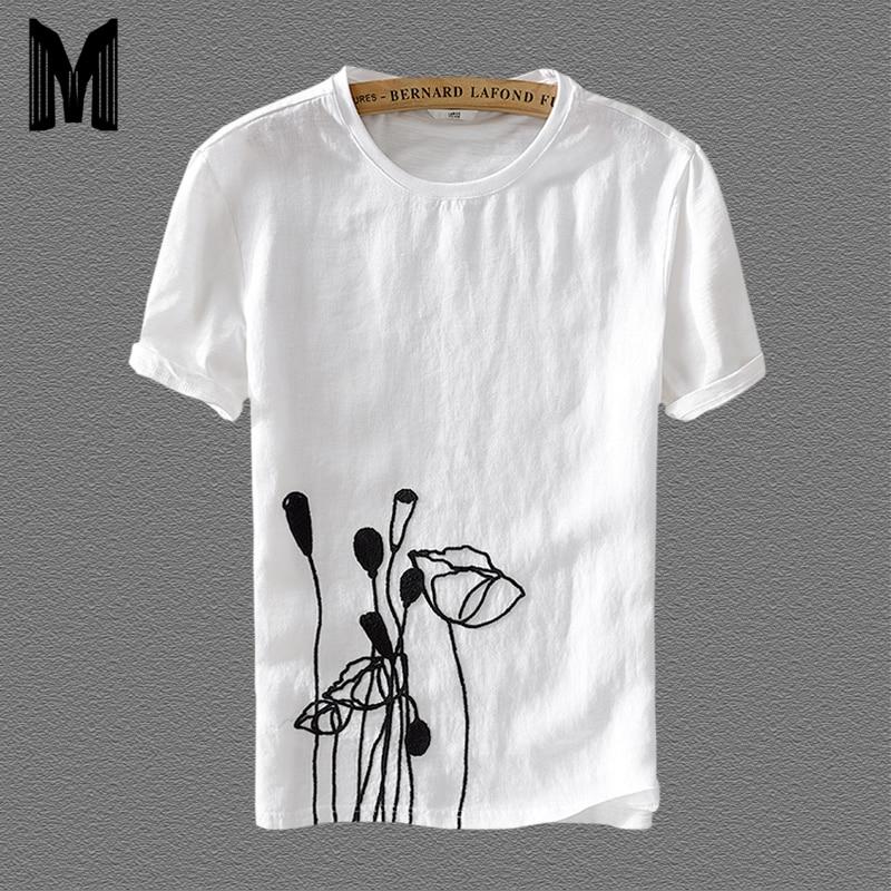 T Shirt Men Short Sleeve Cotton Linen Casual T Shirts For Men White Rose flower Printing Tops Asian Size M-XXXL Y596
