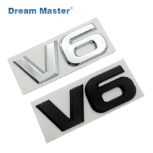 Auto Chroom Metalen V6 Embleem Badge 3D Decal Kofferbak Auto Motor Sticker Auto Styling Sticker Voor Ford Fiesta Kuga Ranger galaxy Fusion
