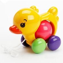 Maluch dzieci zabawki dla niemowląt tradycyjne ciągnięcie wzdłuż kaczki pies plastikowe zabawki dla dzieci dźwięki zabawki Newbrons dziecko dowiedz się spacer zabawki grzechotki