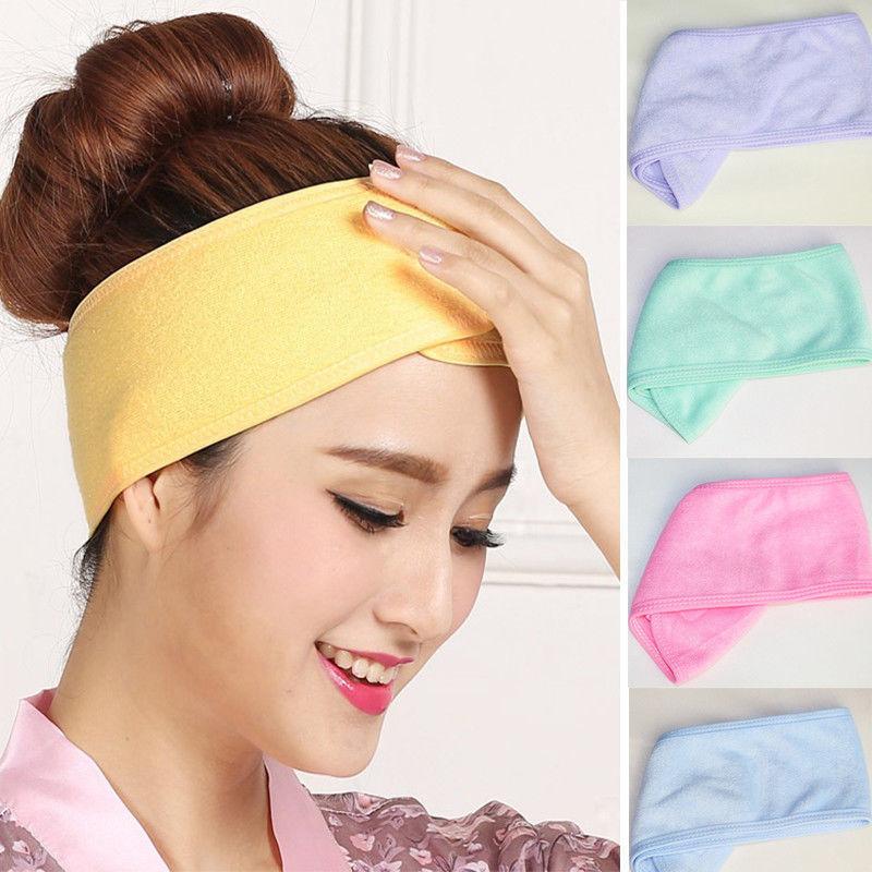 Ducha de baño de Spa para mujer, turbante elástico para la cara, turbante cosmético para mujer, cinta para la cabeza de Yoga, pañuelo de toalla de tela, tiara para el cabello