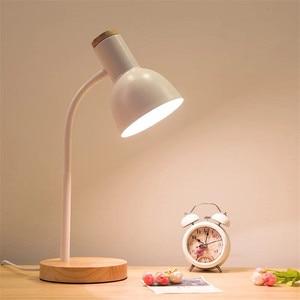 Modern Table Lamp LED Desk Lamp Study Lamp for Bedroom Bedside Lights Wood LED Desk Light Black/ White Curved Lamppost E27