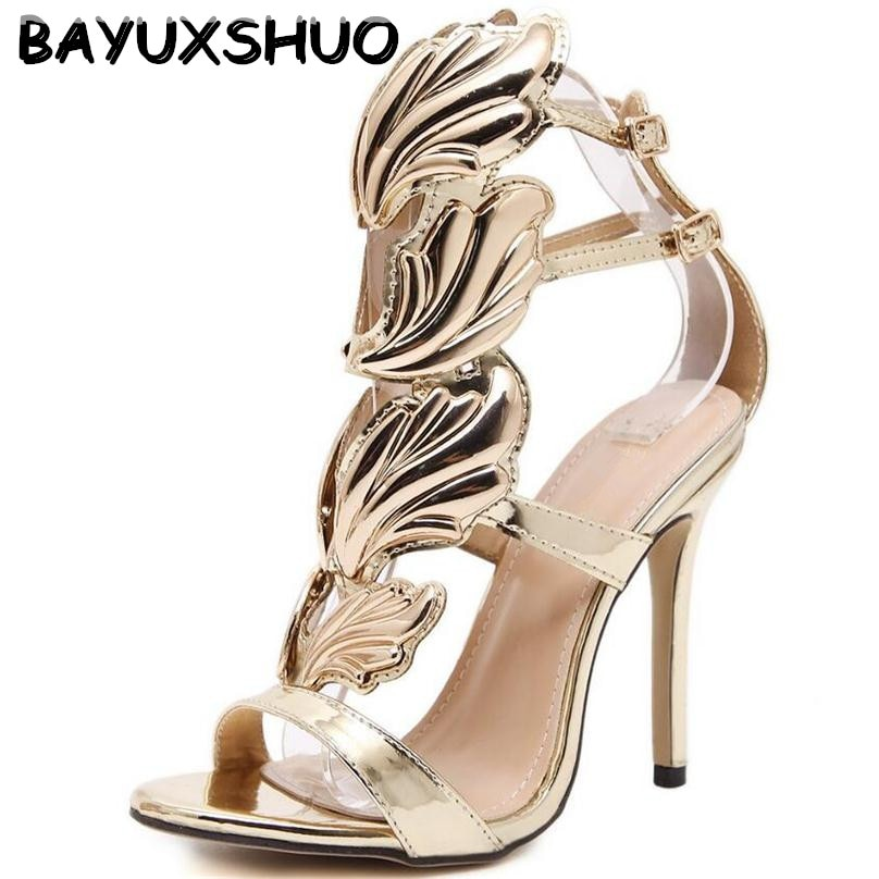 BAYUXSHU-صندل نسائي بكعب عالٍ على طراز المصارع ، حذاء بكعب عالٍ على شكل أوراق الشجر ، مخرم ، لون ذهبي ، مناسب للحفلات