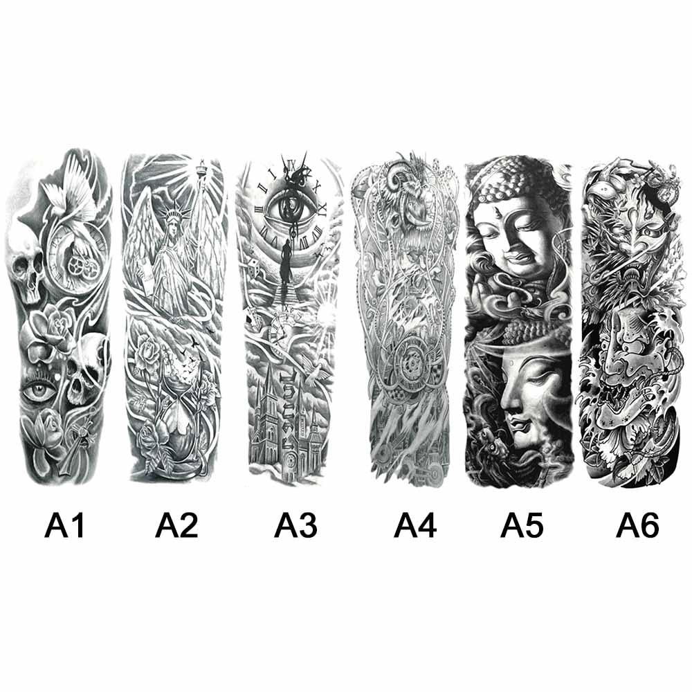 Waterproof Temporary Tattoo Stickers Full Arm Tattoos  skull Clock Wing Statue of Liberty Rose design Tattoos Stickers Art Paint