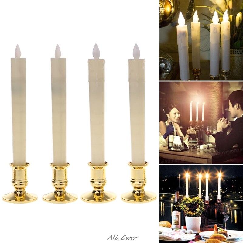 2 uds. Luces de vela Led sin llama parpadeantes eléctricas con 2 Bases doradas extraíbles