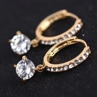 solid 18k yellow gold 0 5ctw 5mm df color moissanite hoop earrings for women wedding anniversary dangle earrings