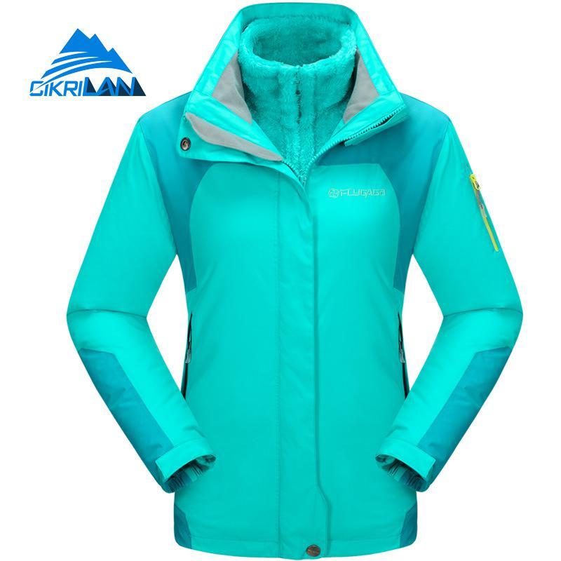 Womens 3in1 Outdoor Waterproof Jacket Women Fleece Lined Hooded Hiking Camping Climbing Sport Coat Ski Snowboard Casaco Feminino