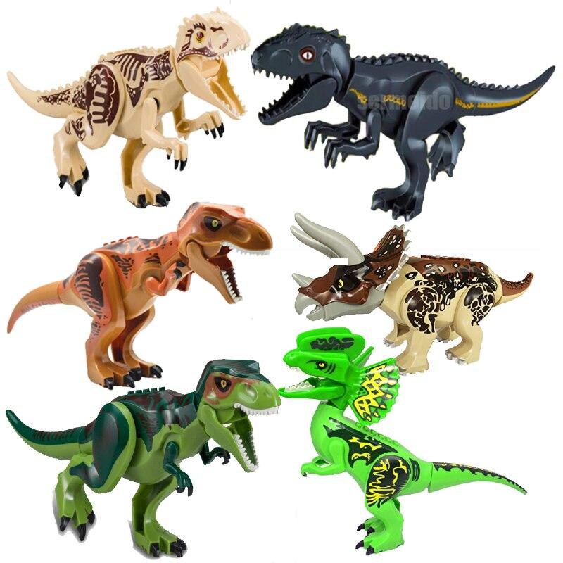 Compatible con Lepining Parque Jurásico del mundo, Tyrannosaurus Indominus Rex Indoraptor, bloques de construcción, figuras de dinosaurios, juguetes de bloques