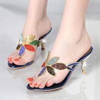 gold blue beach shoes women rhinestone sandals designer summer female slides crystal sandals slippers high heel flip flops c0017