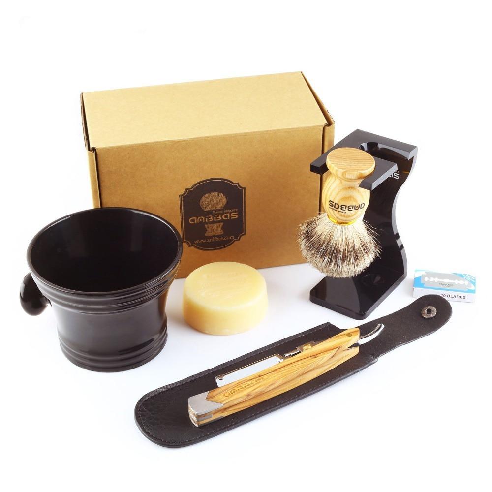 Anbbas 7Pcs Rasieren Set Solide Olive Holz Griff Rasiermesser Rasieren Messer, Silberspitz Dachs Pinsel, Stehen, harz schüssel, Seife, Klingen