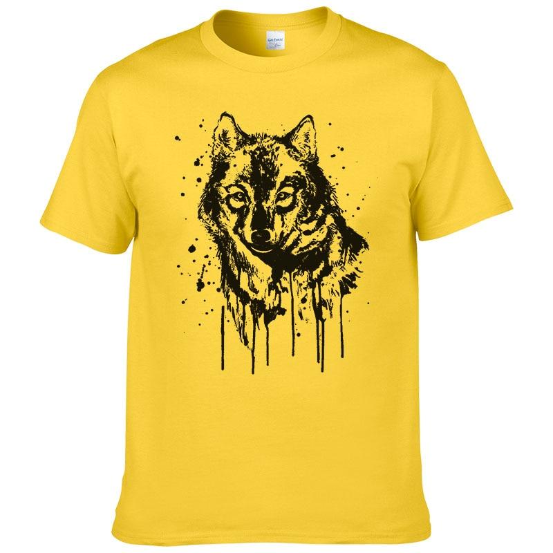 2017 diseño Splash-tinta Lobo T camisa de los hombres de verano de algodón de manga corta marca camiseta de moda Animal impreso fresco Tees #201