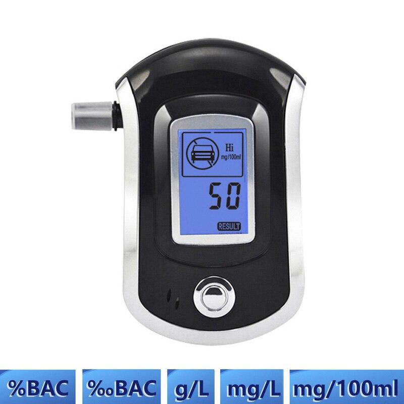 Comprobador de Alcohol Digital Detector de Alcohol para respiración con alarma LCD profesional de policía de Alcohol Analizador de transpiración Detector de Alkohol