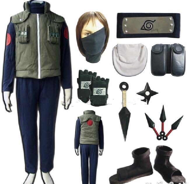 Горячая аниме Наруто Konohagakurenosato Jonin униформа наряд Hatake Kakashi костюмы для косплея